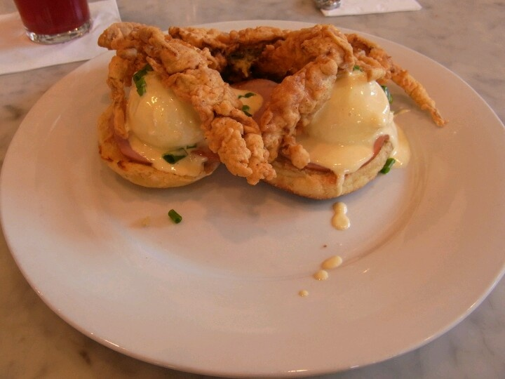 Stanley's Eggs Stella ~ Cornmeal-Crusted Soft-Shell Crab, Poached Eggs ...