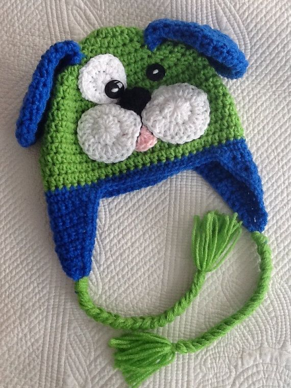 Crochet Pattern Baby Dog Hat : Crochet Puppy Dog Hat with Fleece Lining, Child Animal Hat ...