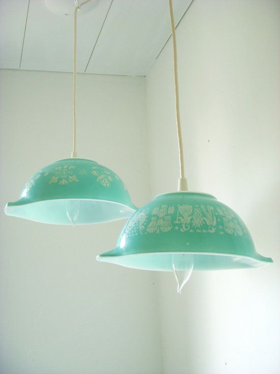 such a great light out of vintage pyrex!