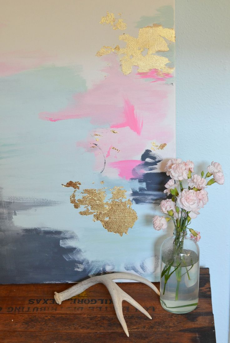 Abstract painting with gold leaf diy love pinterest for Diy watercolor abstract art