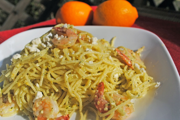 ... Lemon Pesto Pasta (With Shrimp and Feta) #Meyer_Lemon #Pesto