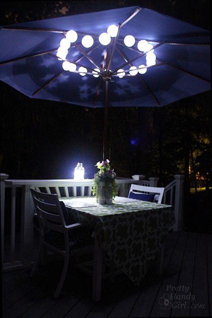 I love the idea of putting solar lights up under the umbrella, how cool!   c/o prettyhandygirl.com