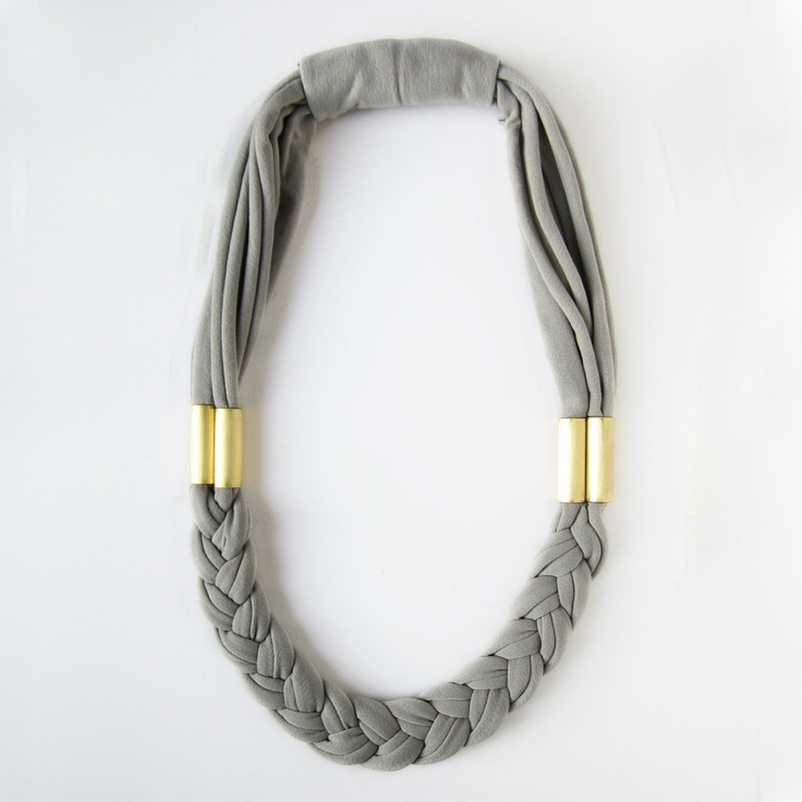 Length is no good for me, but I like otherwise. Braided necklace in pearl gray jersey fabric. $33.00, via Etsy.