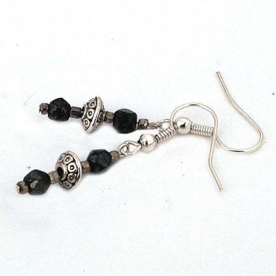 beaded earrings black and silver drop pierced earrings