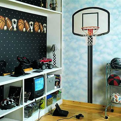 Basketball hoop wall mural sports bedroom pinterest for Basketball wall mural