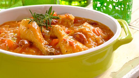French-Style Chicken Stew with black olives and red pepper ...