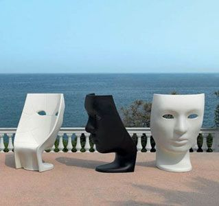 the 'nemo' chair is a very theatrical piece with echoes of a greek tragedy, bringing together art and function
