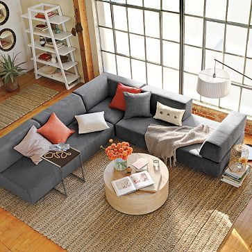 Sectional and round coffee table style me this pinterest for Round coffee table with sectional sofa