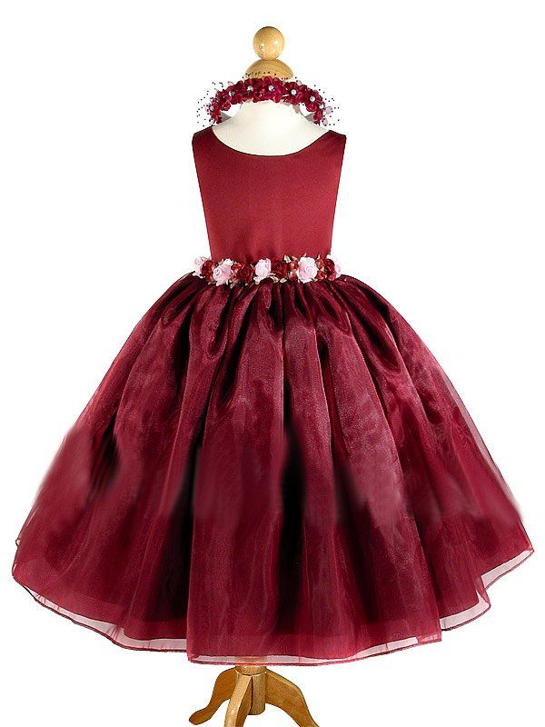 Lauren Burgundy Flower Girl Dress