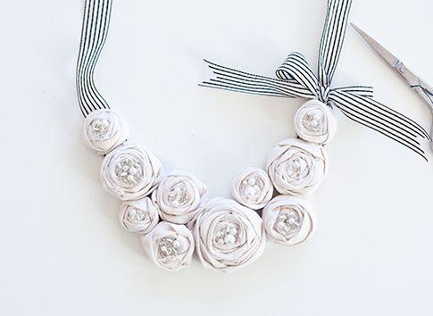 Fabric rosette necklace.