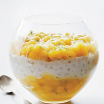 Thai Coconut Tapioca Pudding With Cayenne-Spiced Mango