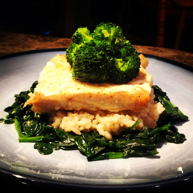 ... bass with broccoli florets on top. Dairy free gluten free. Nom nom