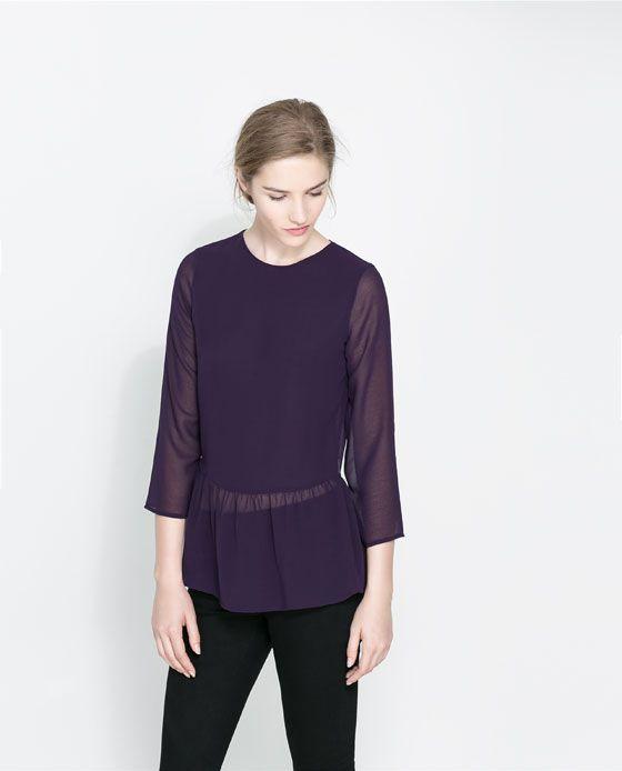 Zara Blouse With Frilled Hem 116