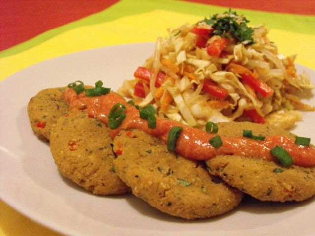 Green Curry Tofu Cakes and Bean Sprouts and Broccoli Slaw Salad with ...