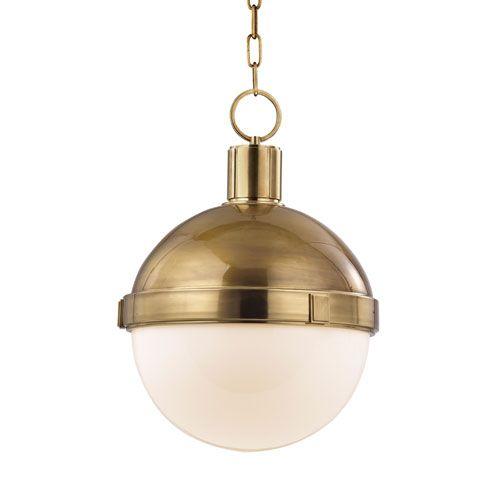 lambert aged brass pendant hudson valley globe pendant