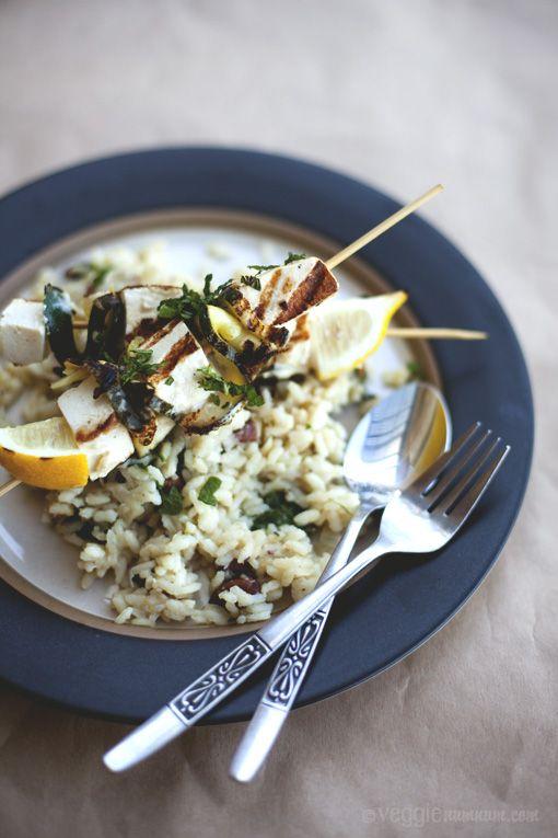 Lemon Risotto w/ Grilled Tofu & Zucchini | Veggie num num