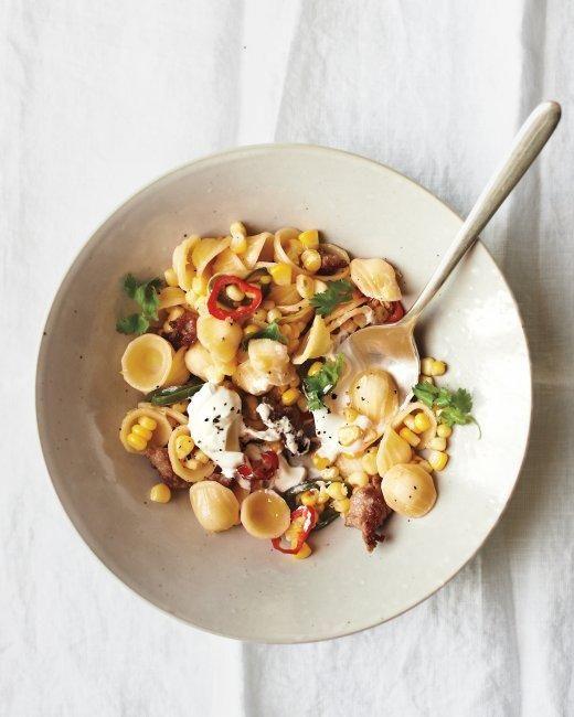 Orecchiette with Sausage, Corn, and Chiles Recipe