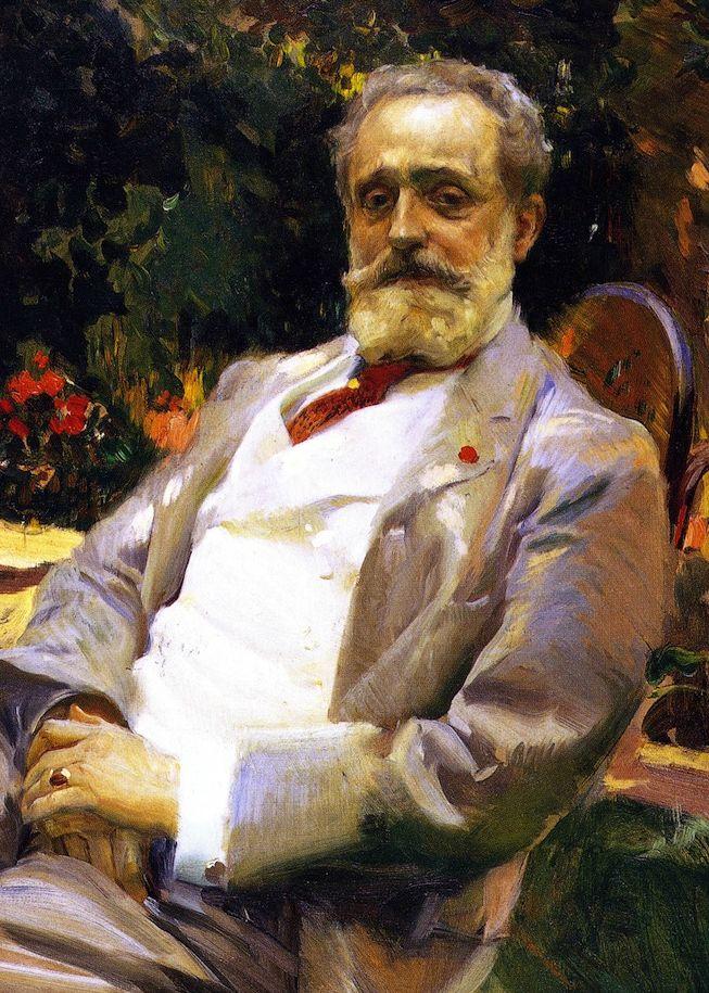 Raimundo de Madrazo en su jardín de París, pintado por Joaquin Sorolla en 1906
