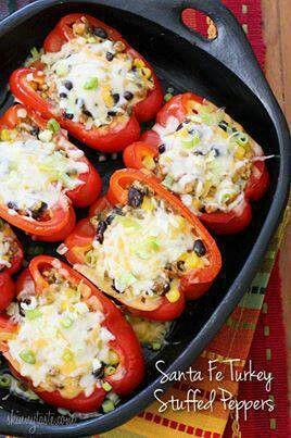 Santa Fe Turkey Stuffed Peppers | Food: Stuffed Peppers | Pinterest