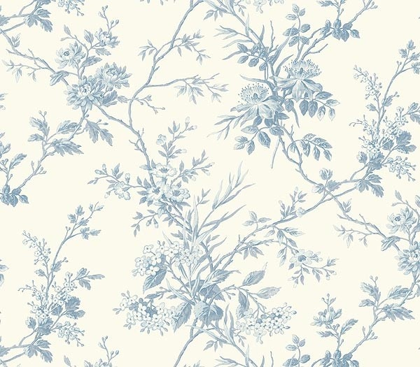 blue floral toile wallpaper sm21555