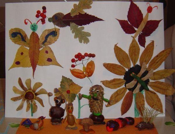 Поделка из листьев для школы