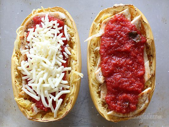 Cheesy Baked Spaghetti Squash Boats with Grilled Chicken | Skinnytaste ...