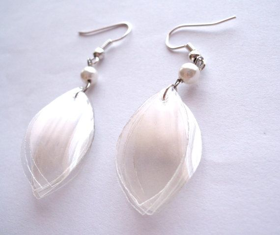 Recycled plastic bottle pearltone earrings clear by for Jewelry made from plastic bottles