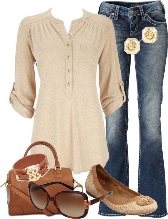 Cream color cute shirt, blue jeans, shoes,glasses and handbag