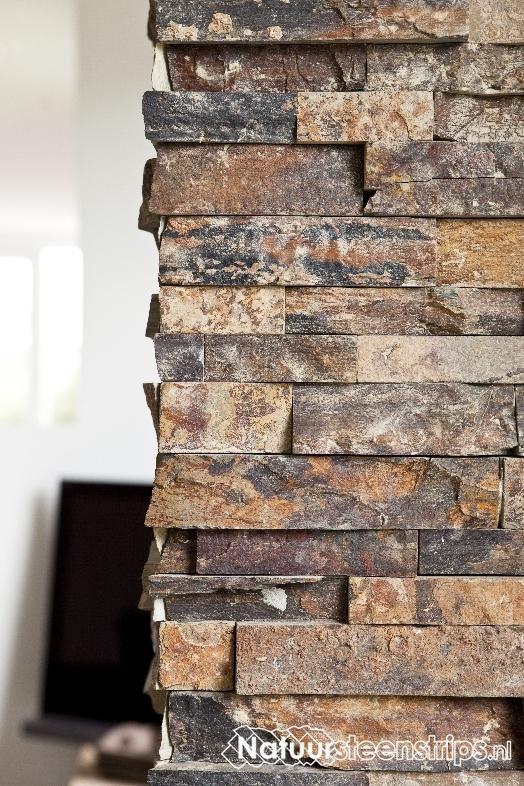Natuursteenstrips Woonkamer: Natuursteenstrips goud kwartsiet ...