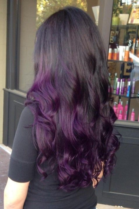 Black to dark purple ombre hair