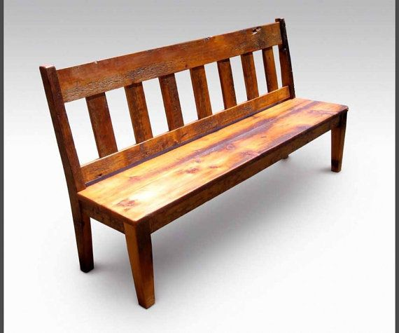 rustic bench salvaged reclaimed wood with slatted back