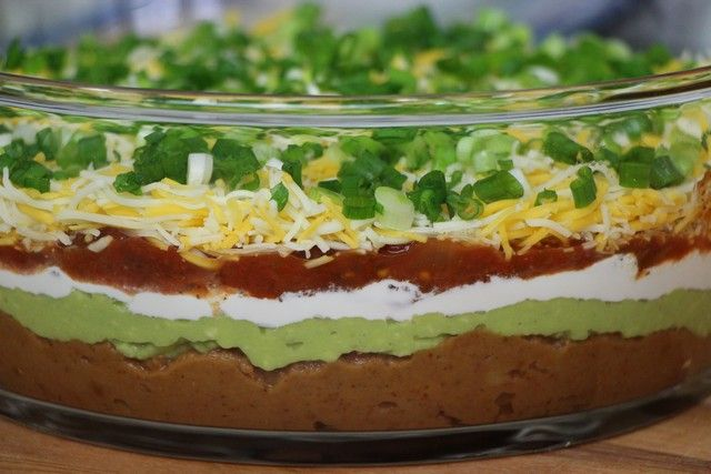 Six Layer Superbowl Taco Dip FOR THE NEW YEARS EVE PARTY :)