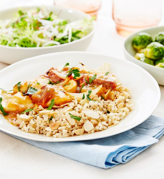 Apricot chicken with coconut almond brown rice - Better Homes and ...
