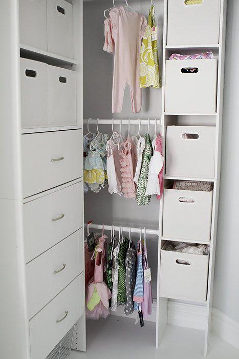 Nursery organization room : Organized small nursery closet