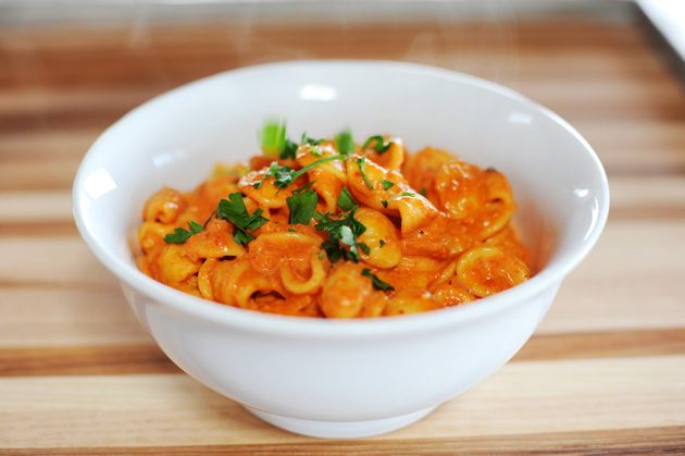 Pasta with roasted red pepper sauce--seriously gotta try this.
