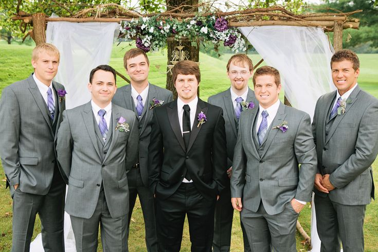 Fall Wedding Black Tux For The Groom Grey Suits For The Groomsmen Grey And Purple Wedding
