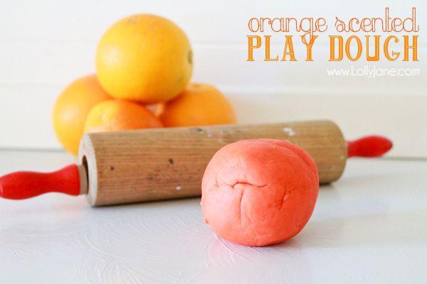 Orange scented play dough by Lolly Jane via www.thirtyhandmadedays.com
