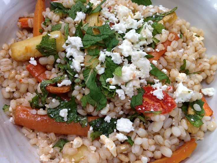 Honey And Harissa Farro Salad Recipe — Dishmaps