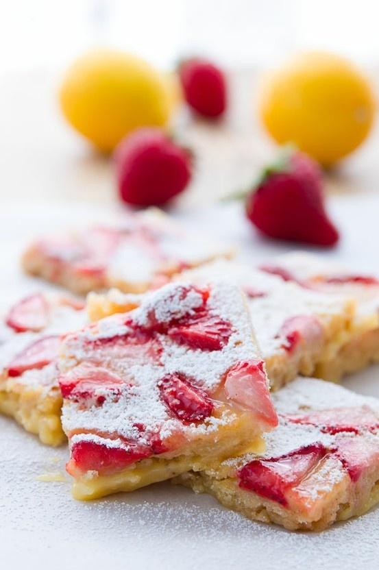 Strawberry Lemon Bars dessert | food i should NEVER eat | Pinterest