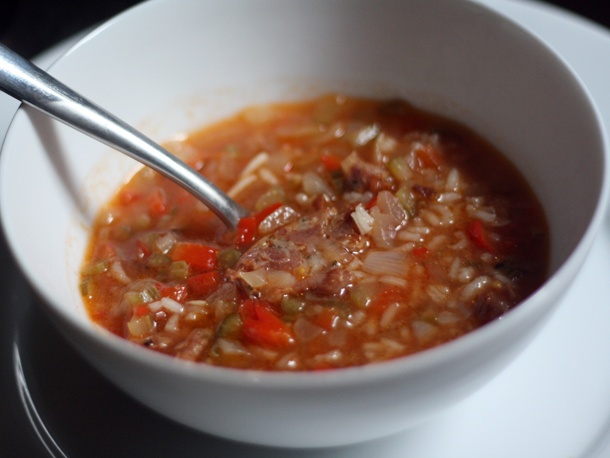 Tomato, Rice, and Andouille Soup from Serious Eats. http://punchfork ...