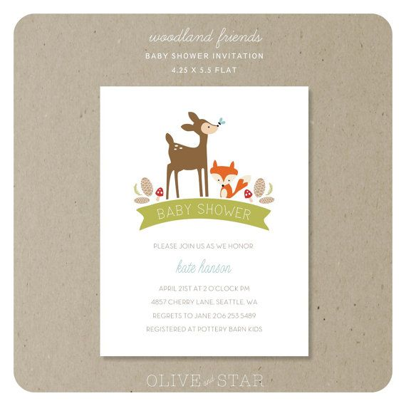 woodland friends baby shower invitation set by oliveandstar