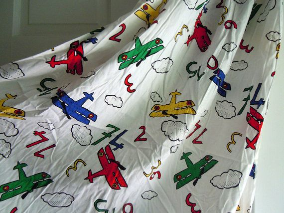Airplanes clouds and numbers vintage fabric sold by the for Airplane fabric by the yard