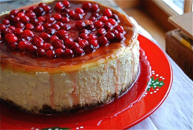Eggnog Cheesecake with Gingersnap Crust & Pomegranate Glaze | Recipe