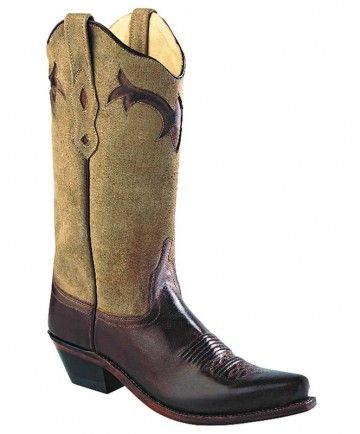 Old West Ladies Wheat Cream / Brown Western Fashion Boots - Women's