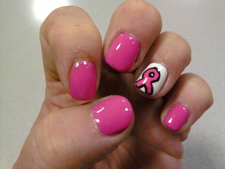 Shellac nails.Breast Cancer Awareness | Breast Cancer Nail Designs