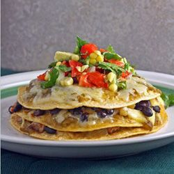 Pork and Pineapple Stacked Enchilada with Fresh Corn and Avocado Salsa
