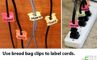 creative way to use bread bag clips...