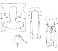 Folkwear Pattern #261 Paris Promenade Dress, styled after Babani Dress This easy-to-sew, easy-to-wear afternoon dress from about 1920 flatters any figure. Pullover dress is attached to bib-shaped overdress, then shaped to the body at the waist by a self-fabric sash or purchased decorative cord.  Surprisingly elegant and modern