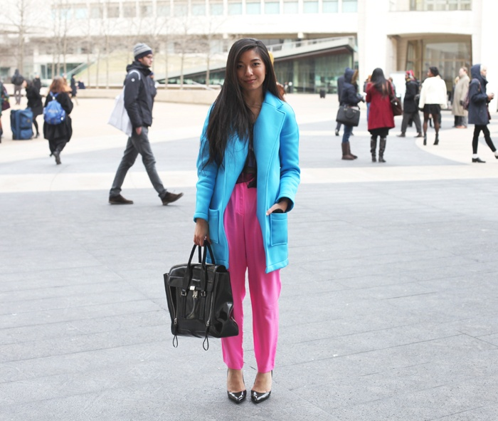 "Stephanie of ""Honey & Silk"" brightens up in a UO jacket for #NYFW. #urbanoutfitters"