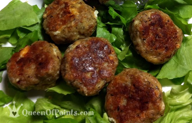 Cheesy Chicken Meatballs- 6PP Serving Size: 4 Meatballs Low Carb